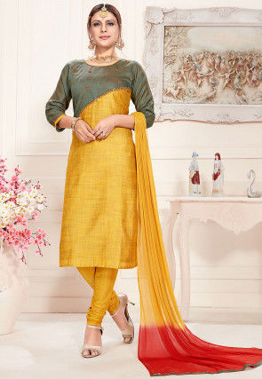 Embroidered Art Silk Slub Straight Suit in Dusty Green and Yellow