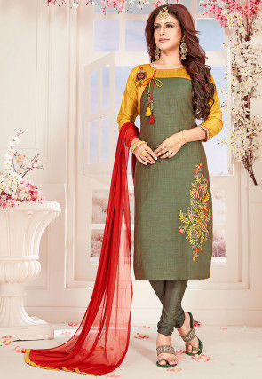 Embroidered Art Silk Slub Straight Suit in Olive Green
