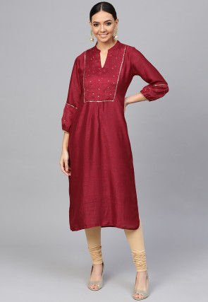Embroidered Art Silk Straight Kurta in Maroon