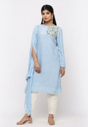 Embroidered Art Silk Straight Kurta in Pastel Blue