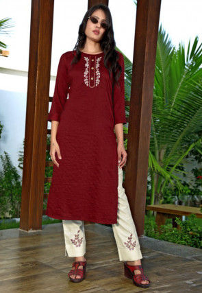 Embroidered Art Silk Straight Kurta Set in Maroon