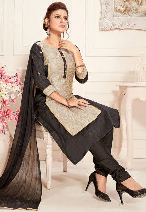Embroidered Art Silk Straight Suit in Beige and Black
