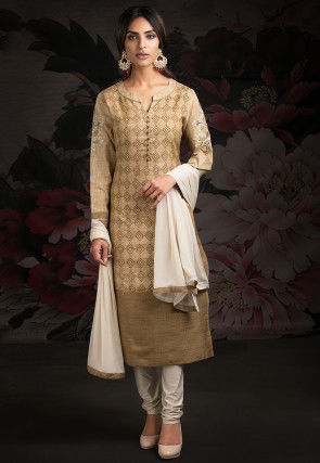 Embroidered Art Silk Straight Suit in Beige