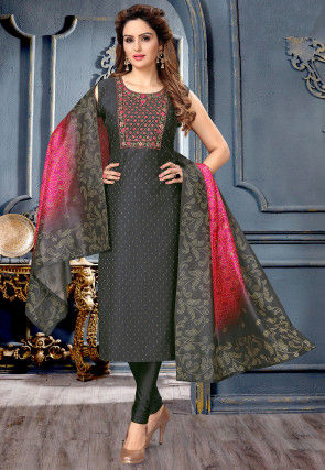 Embroidered Art Silk Straight Suit in Black