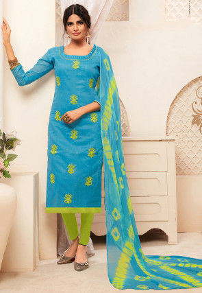 Embroidered Art Silk Straight Suit in Blue