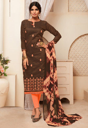 Embroidered Art Silk Straight Suit in Brown