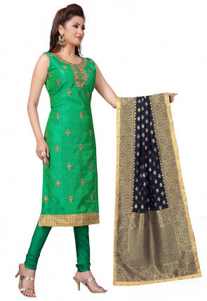 Embroidered Art Silk Straight Suit in Green