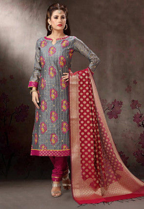 Embroidered Art Silk Straight Suit in Grey
