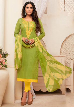 Embroidered Art Silk Straight Suit in Light Green