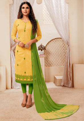 Embroidered Art Silk Straight Suit in Light Yellow