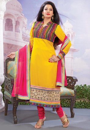 Embroidered Art Silk Straight Suit in Mustard
