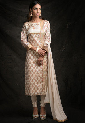 Embroidered Art Silk Straight Suit in Off White