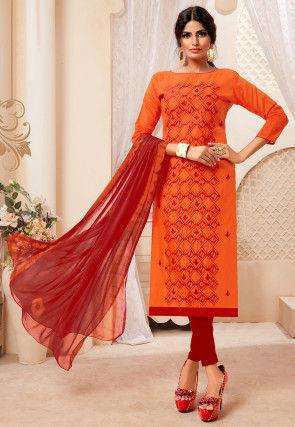 Embroidered Art Silk Straight Suit in Orange