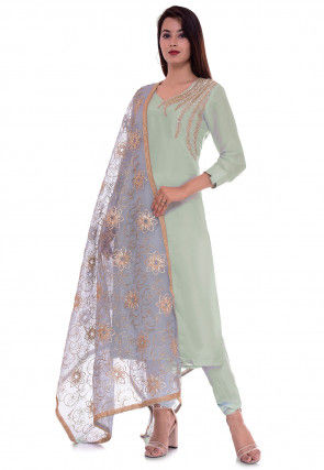Embroidered Art Silk Straight Suit in Pastel Green