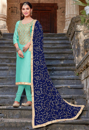 Embroidered Art Silk Straight Suit in Turquoise