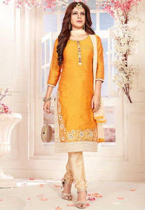 Embroidered Art Silk Straight Suit in Yellow