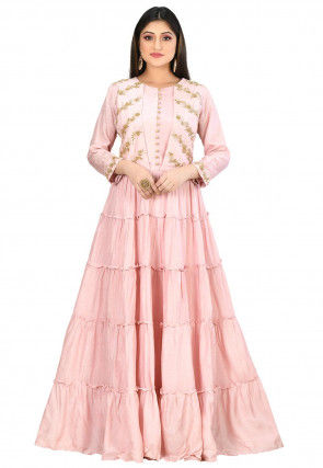 Embroidered Art Silk Tiered Gown in Baby Pink