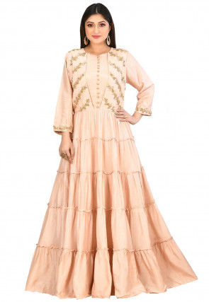 Embroidered Art Silk Tiered Gown in Light Peach
