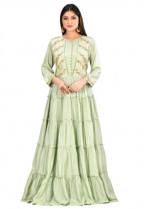 Embroidered Art Silk Tiered Gown in Pastel Green