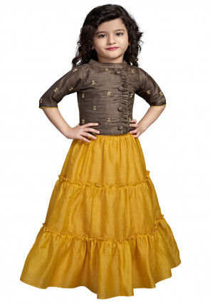 Embroidered Art Silk Tiered Lehenga in Mustard