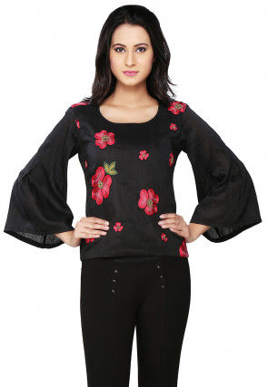 Embroidered Art Silk Top In Black
