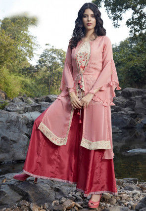 Embroidered Art Silk Top Jacket Set in Pink and Red