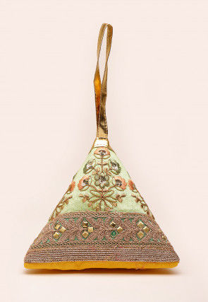 Embroidered Art Silk Triangular Potli Bag in Light Green