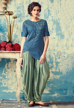 Embroidered Art Silk Tunic with Dhoti Pant in Blue