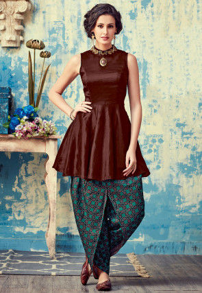 Embroidered Art Silk Tunic with Dhoti Pant in Dark Brown