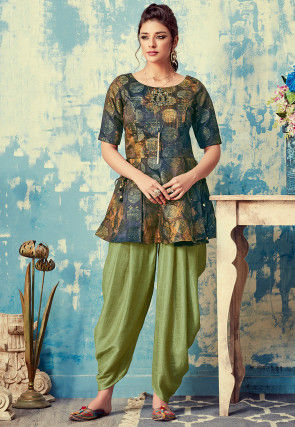 Embroidered Art Silk Tunic with Dhoti Pant in Multicolor