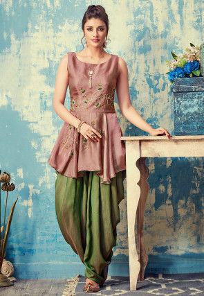 Embroidered Art Silk Tunic with Dhoti Pant in Old Rose