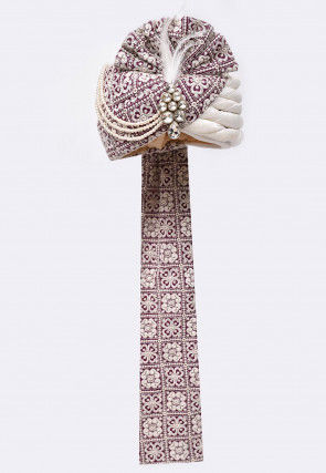 Embroidered Art Silk Turban in Purple and Off White