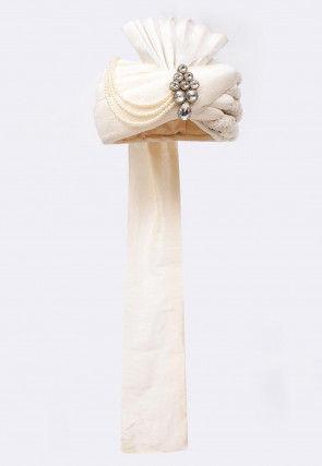 Embroidered Art Silk Turban in White