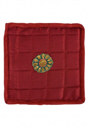 Embroidered Art Silk Utility Pouch in Maroon