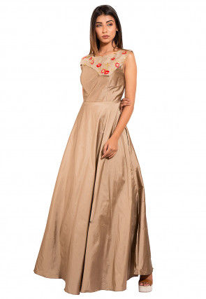 Embroidered Art Taffeta Silk Gown in Fawn