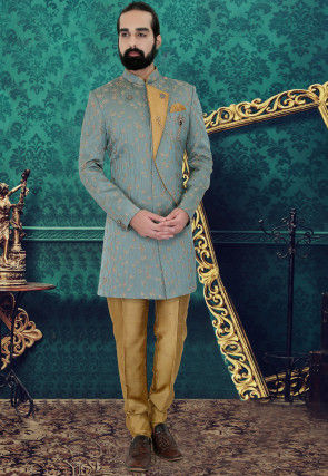 Embroidered At Silk Jodhpuri Suit in Dusty Blue