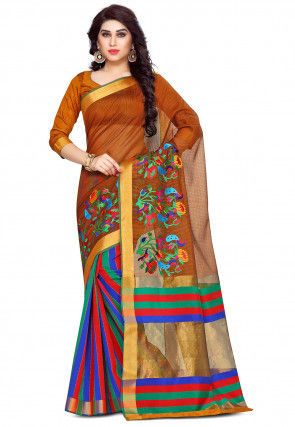 Embroidered Bangalore Silk Saree in Brown and Multicolor