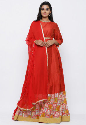 Embroidered Belt Art Silk Abaya Style Suit in Red