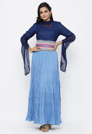 Embroidered Belt Cotton Maxi Dress in Light Blue and Navy Blue