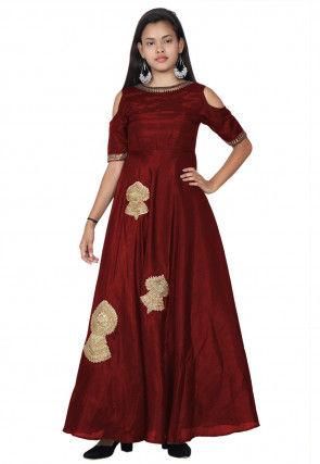 Embroidered Bhagalpuri Silk Abaya Style Kurta in Red