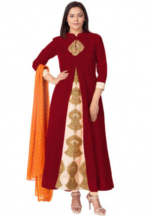 Embroidered Bhagalpuri Silk A Line Suit in Maroon and Beige