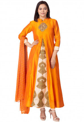 Embroidered Bhagalpuri Silk Anarkali Suit in Orange and Beige