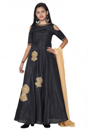 Embroidered Bhagalpuri Silk Abaya Style Suit in Black