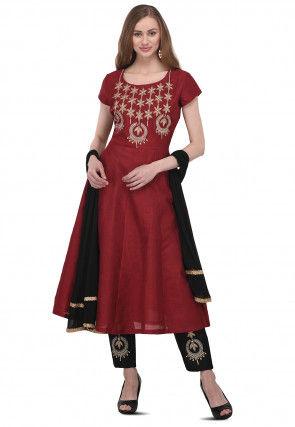 Embroidered Bhagalpuri Silk Anarkali Suit in Maroon