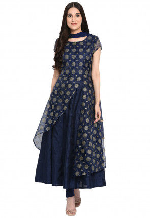 Embroidered Bhagalpuri Silk Anarkali Suit in Navy Blue