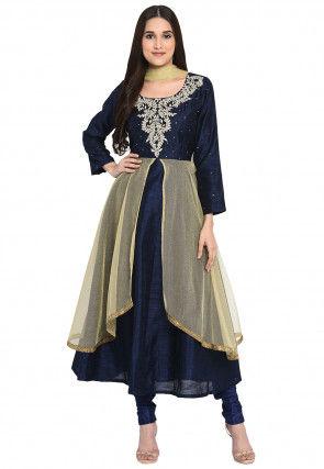 Embroidered Bhagalpuri Silk Anarkali Suit in Navy Blue