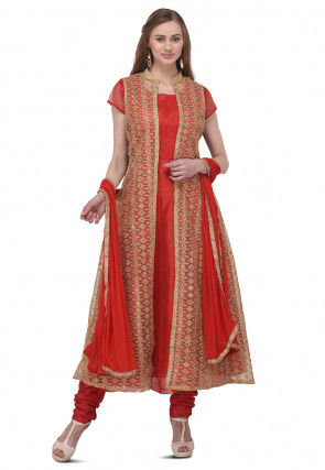 Embroidered Bhagalpuri Silk Anarkali Suit in Red