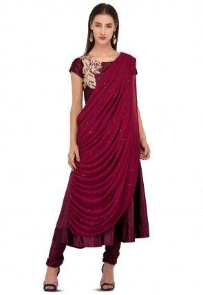 Embroidered Velvet Anarkali Suit in Wine