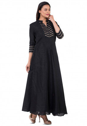 Embroidered Bhagalpuri Silk Flared Kurta in Black