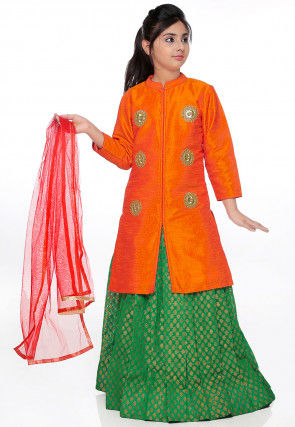 Embroidered Bhagalpuri Silk Lehenga in Orange and Green